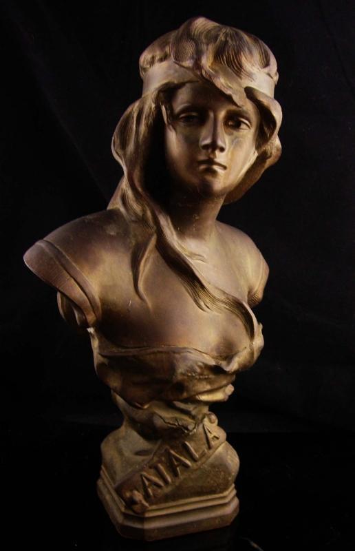 Art NOUVEAU Atala Goddess Bronze bust statue / art deco statue / Vintage Nude / Indian maiden / Goddess statue / Mantle sculpture