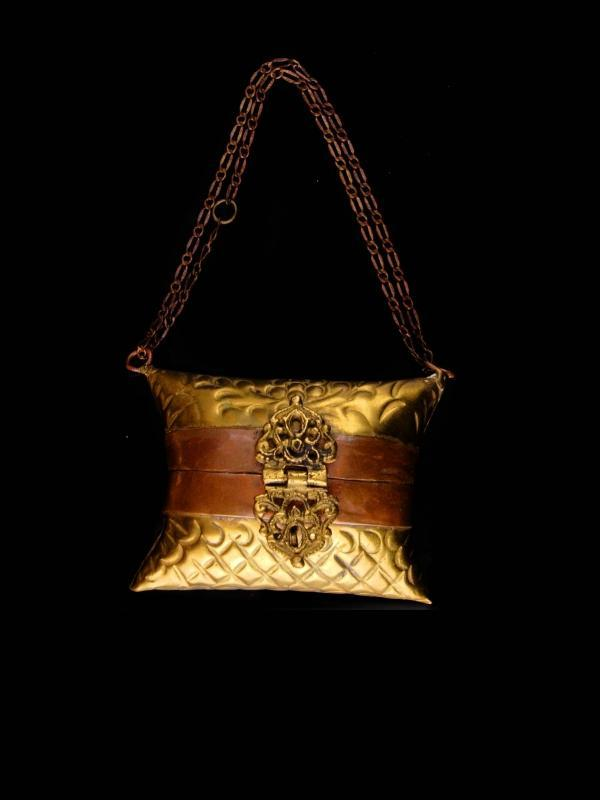 victorian wrist purse / vintage miniature pillow purse /  wristlet metal dance purse