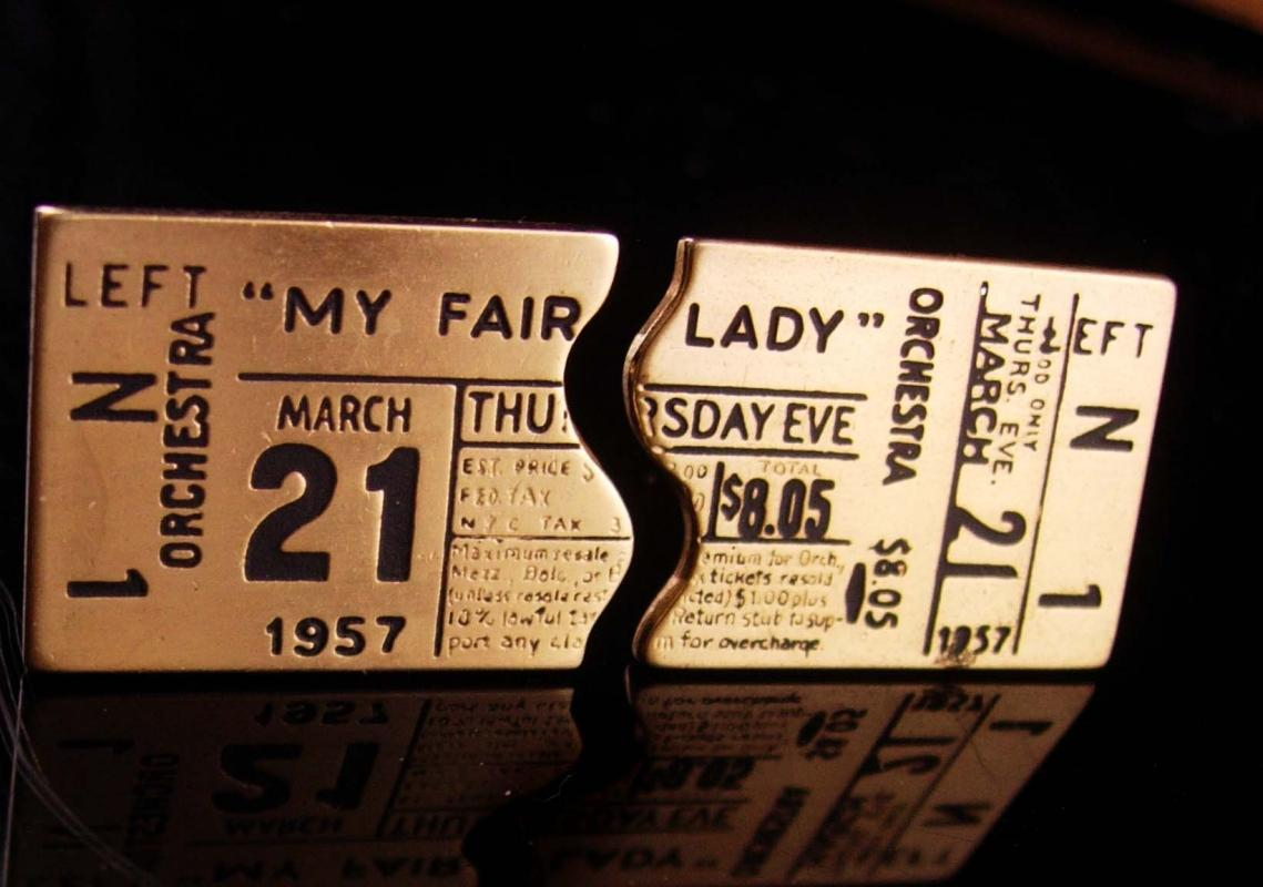1957 theatre Cufflinks - Vintage My Fair Lady - CBS ticket stubs - Character gold plate Cuff Links - music Gift actor actress - gay interest