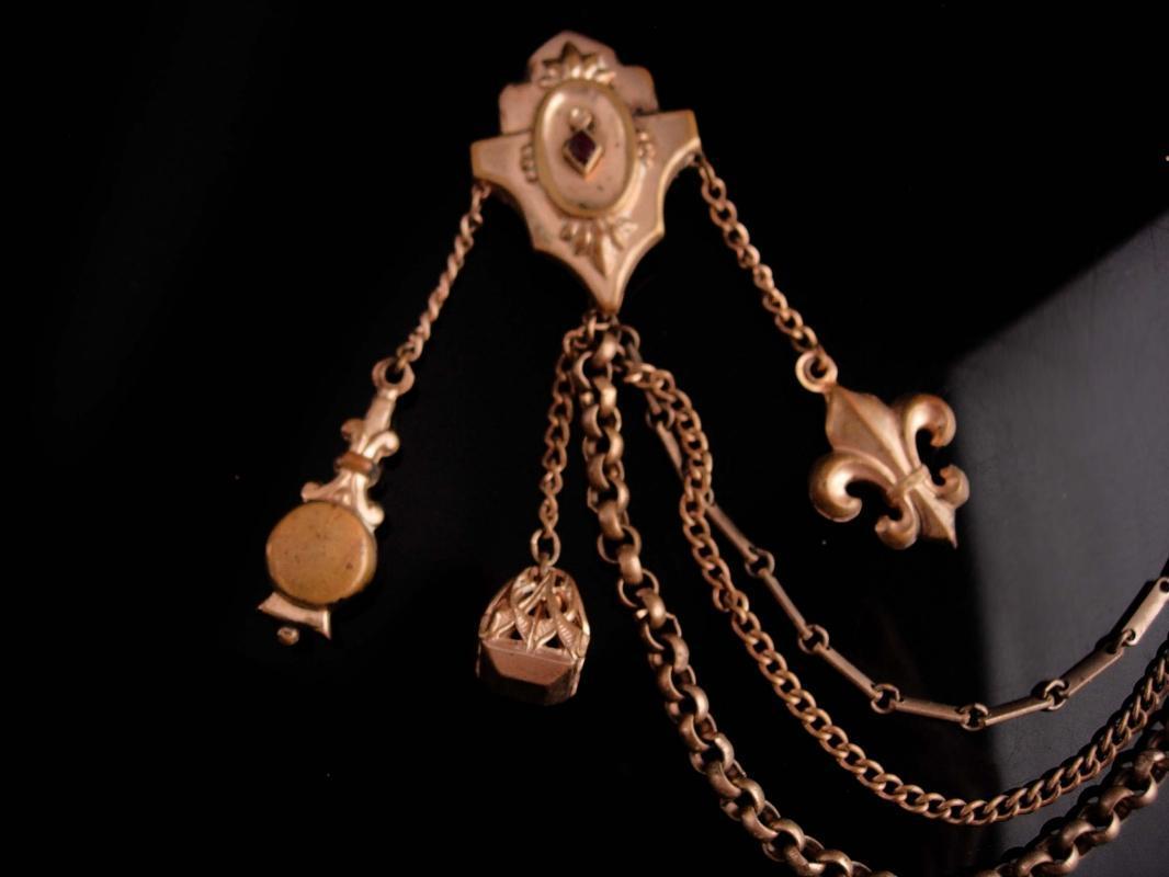 Antique  medieval Chatelaine - cloak clasp - mens lapel pin - womens cape brooch collar clips - Victorian fleur de lis