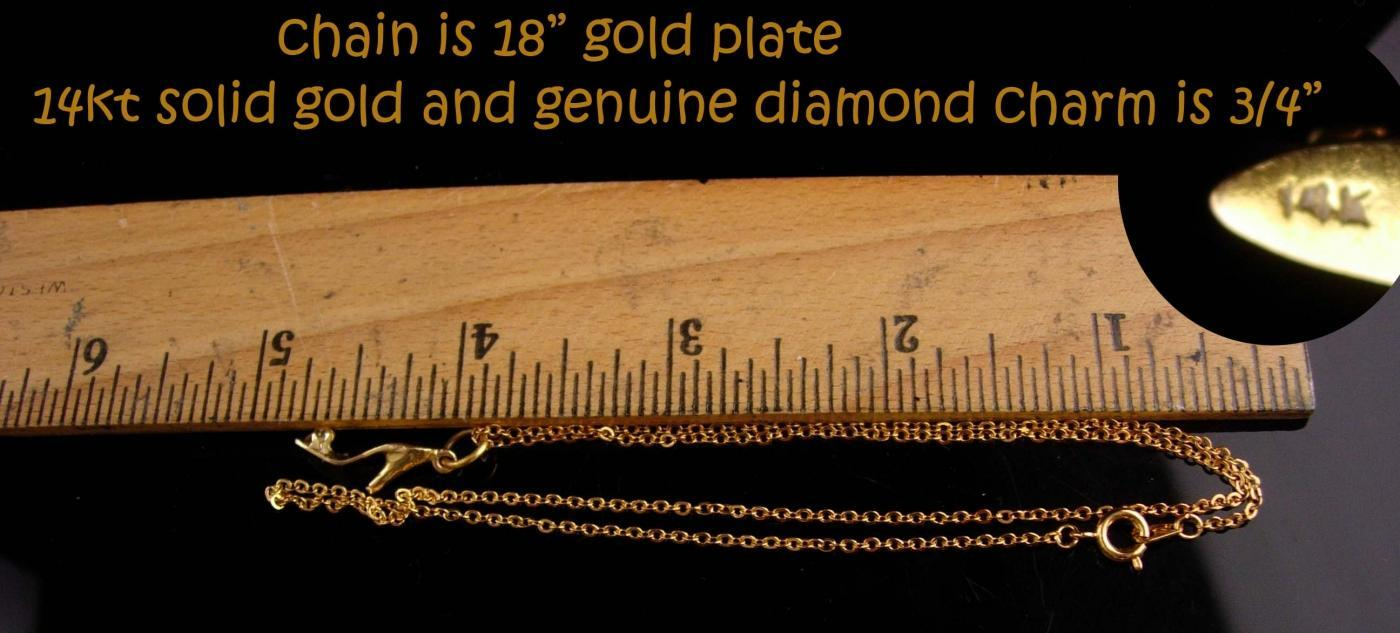 Vintage 14kt gold diamond shoe charm necklace - high heel pendant - Fine Jewelry gift for her -genuine diamond
