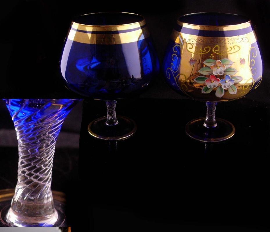 Pair LARGE blue goblets - vintage bohemian handpainted  glass - Liqueur brandy wine cordials - wedding gift - anniversary toast