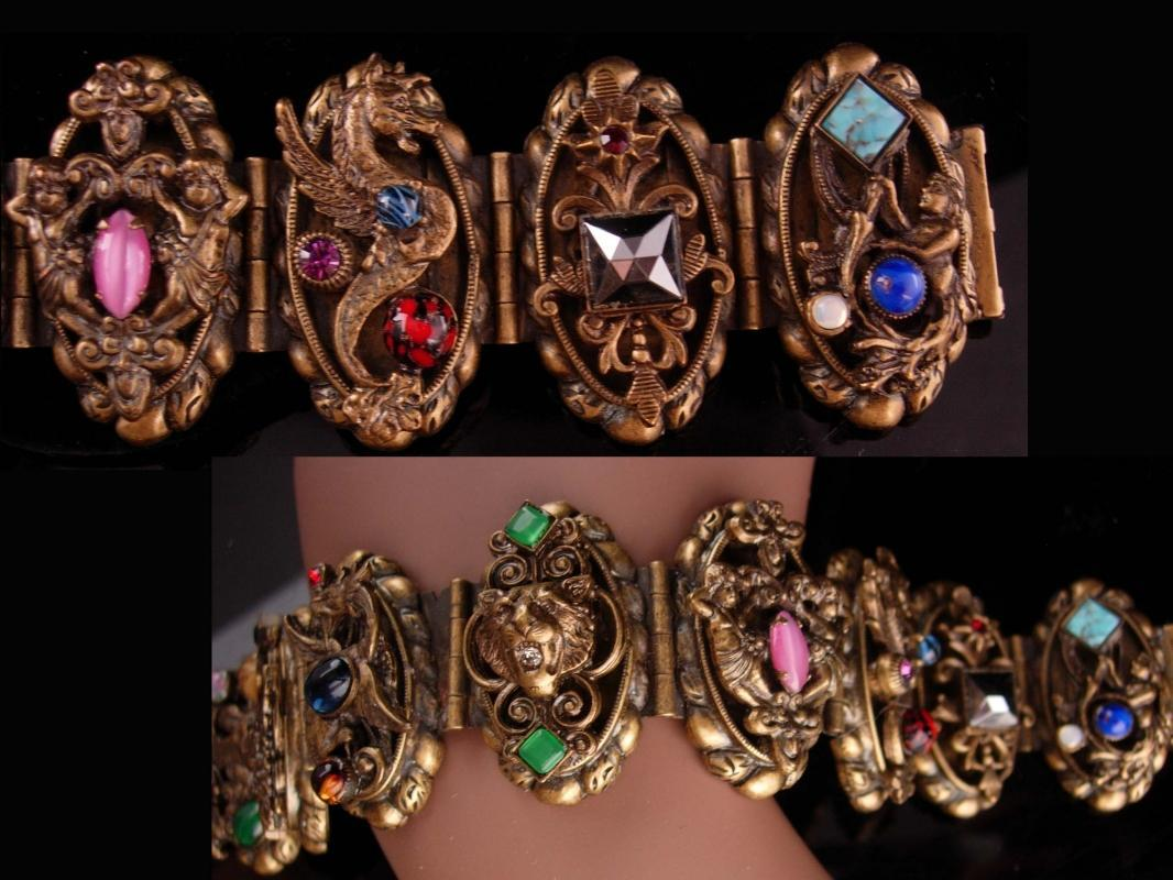 FABULOUS Vintage Dragon Bracelet - Baroque  Zeus - cherub jeweled Victorian Bracelet - gothic mermaid and angel - Lion Bracelet -