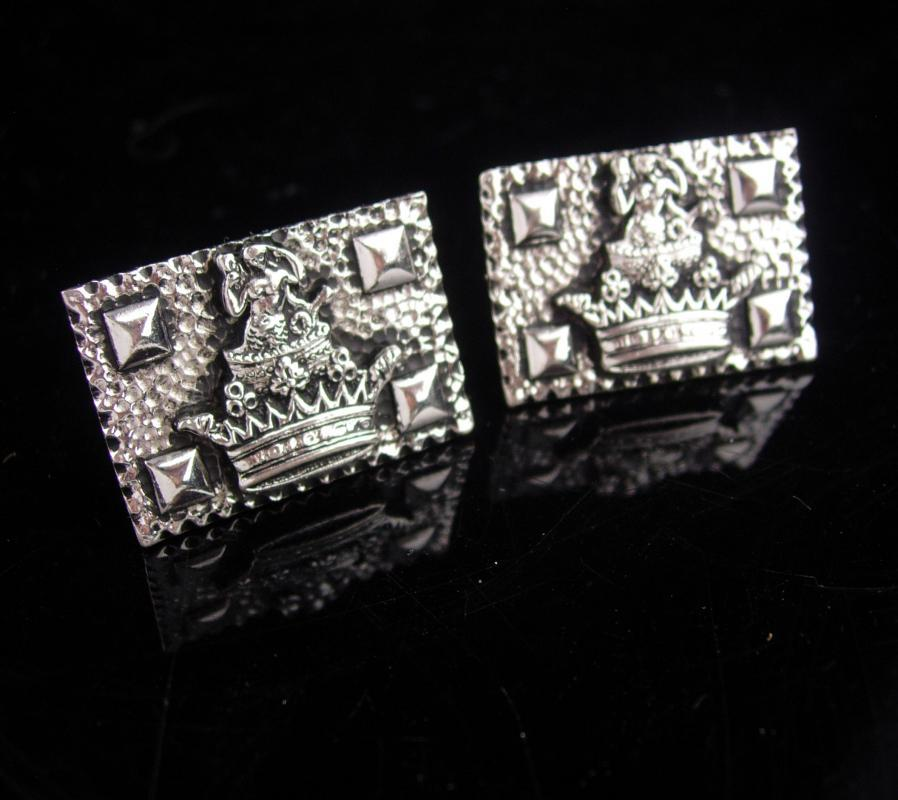 Vintage Nude Mermaid Cuff links  Crown CuffLinks mythical goddess siren sea creature silver  extra large