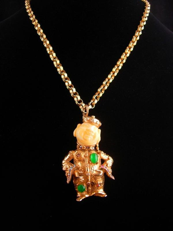 Large signed buddha necklace - good luck gift - couture Art faux jadependant - statement jewelry