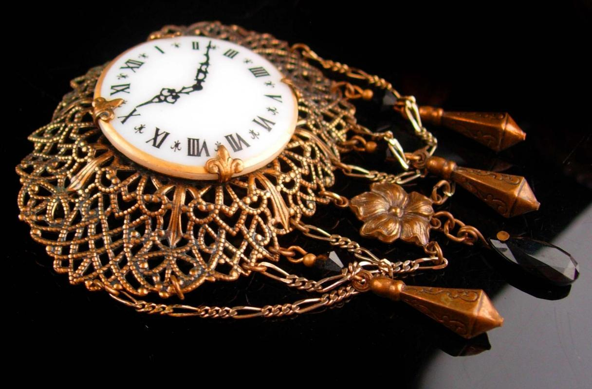 Victorian Watch brooch - vintage enamel clock lapel pin - Chatelaine watch - signed jewelry - estate costume jewelry