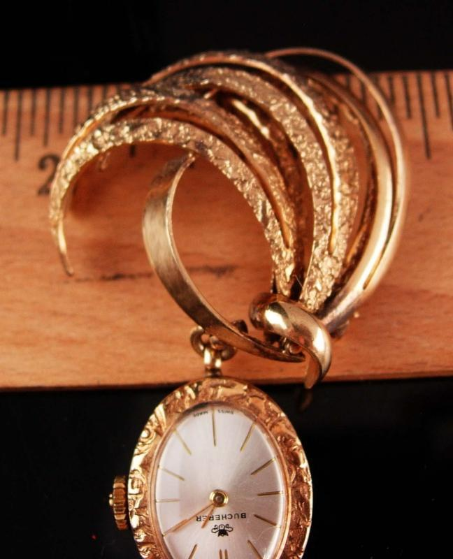 1940's Bucherer Watch brooch - vintage retro lapel pin - Chatelaine watch - sweetheart jewelry - estate  jewelry -gift for mom