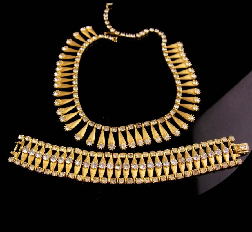 Cleopatra Necklace & bracelet - rhinestone choker - vintage collar - costume jewelry set - retro unsigned jewelry