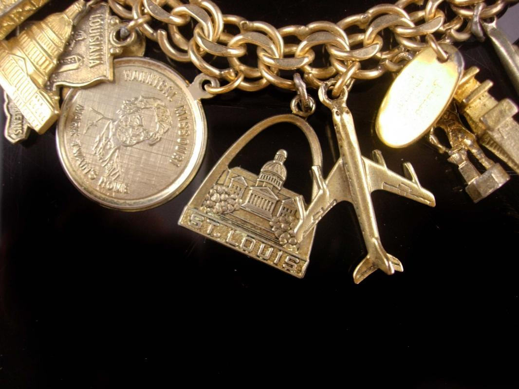 Vintage Gold filled Charm Bracelet - movable typewriter - gold sterling - Mickey - sailor - airplane - dolphin - oil well - nautical fish -