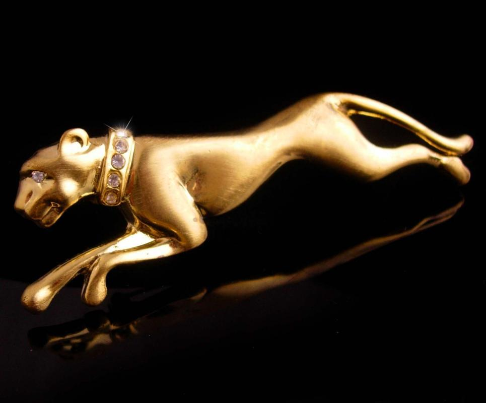 BIG Cat brooch / gold Jaguar / leopard pin /  rhinestone lapel pin / womens statement jewelry / animal lover / Shoulder brooch