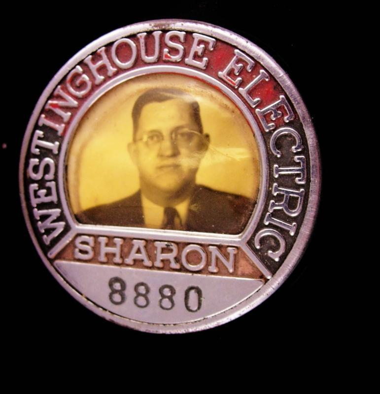 WW11  photo badge - Vintage Westinghouse ID  pin -  8880 rare sharon  id badge