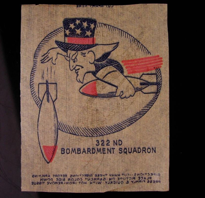 Vintage 322nd Bombardment Squadron Walt  Designed Iron On Combat Insignia 2 3/4 x 3 inches