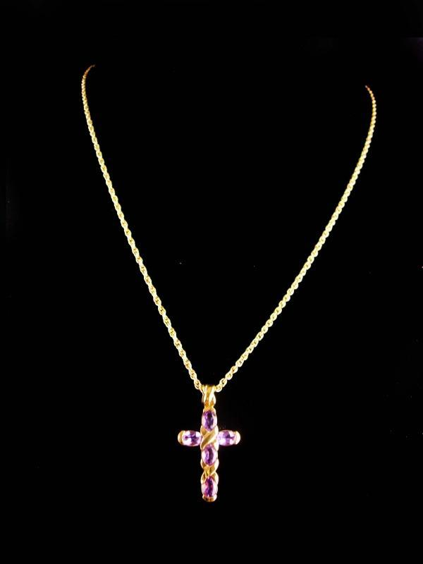 Amethyst cross necklace - Vintage love and kisses pendant - womens 18