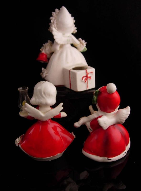 1950's Christmas Angel figurines - holt howard 1958 -  candleholder - hurricane lamp - Christmas statues - musical violin - girl figurines
