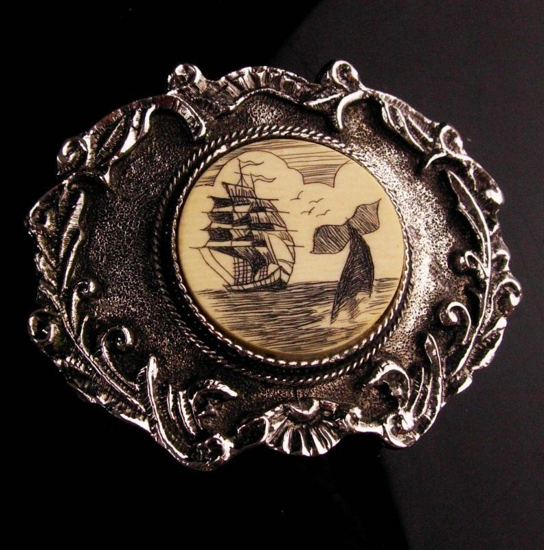 Vintage pirate Buckle / whale fish / Sailing Ship / Nautical gift / Men's Belt Accessory / trucker sailor gift