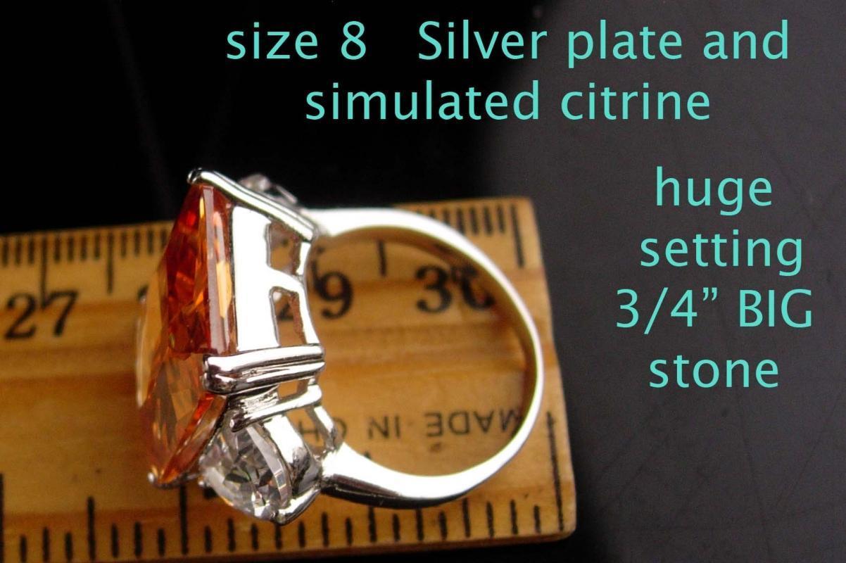 HUGE Citrine ring / designer Cocktail Ring / Size 8 / 13th 17th anniversary November sagittarius scorpio gift - simulated stone