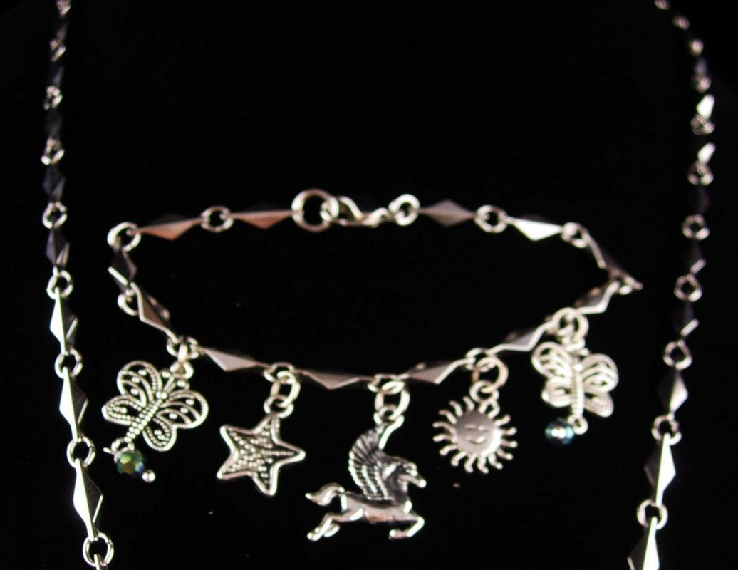 Goddess necklace and bracelet - fairy necklace - unicorn bracelet - statement jewelry - fairy dust - magical  rivoli rhinestone earrings
