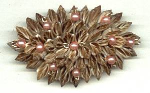 Brooch/Pin/Handmade/Tiny Sliced Sea Shells Accented W/Faux Pearls