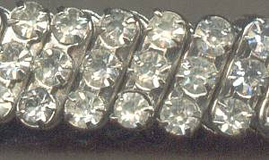 Bracelet/Expansion/Silvertone W/Clear Glass Rhinestones