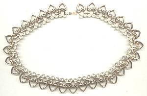 Necklace/Designer//Trifari Goldtone Hearts W/Clear Rhinstones