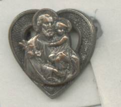Religious/Catholic Pin/ Heart W/Male Figure Holding Child