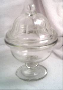 Glass/C.1940's Footed  Bowl W/Lid/Thick and Heavy