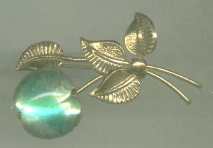 Brooch/Pin-Marked-Austria/Floral Design/Large Green Tri-Color Glass Cabachon