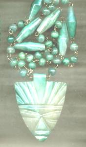 Necklace/Natural Stone Bead W/Carved Tribal