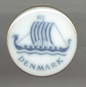 Souvenir/Painted Porcelain Pin From Denmark