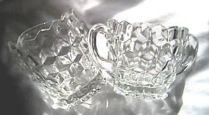 Glass/Sugar Bowl & Creamer/Fostoria American Line or American Whitehall