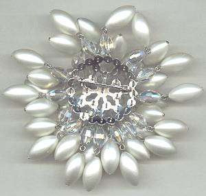 Brooch/Crystal A/B Oval Beads W/White Oval Faux