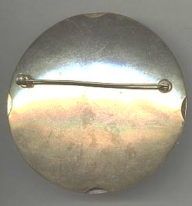 Brooch/C.1919/Large Round//?Sash Pin/Stamped Brass With Applied Stampings/Gold Wash Finish