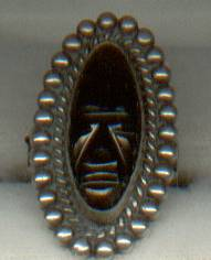Ring/Sterling/Glass or Obsidian Carved Face