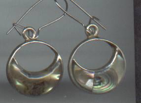 Earrins/Pierced/Mexican Sterling / W/Concha Shell