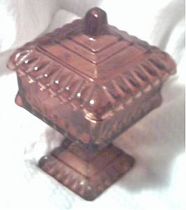 Glass/Square/Footed Covered Dish/Plum Color