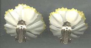 Earrings/Clip Ons/Flower Power Enameled White W/Yellow Edges