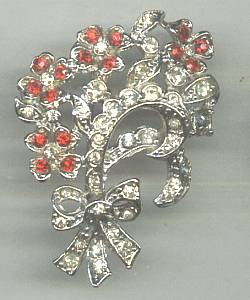 Brooch/Designer/Coro Floral W/Red&Clear Rhinestones