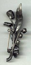 Brooch/Pewter Look Floral Marked AustriaW/Clear Rhinestones and Faux Hematite Beads