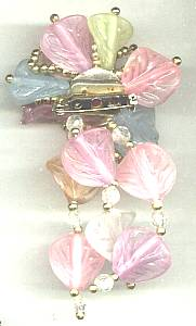 Brooch/C.1980 Pastel Colored Floral W/Dangles
