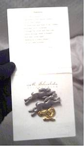 Brooch/Designer/M. Sheilds/Carded Pewter&Gold/PairRabbits