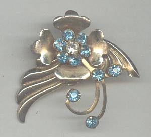 Brooch/Stamped GT W/Aqua Prong  Set Flower