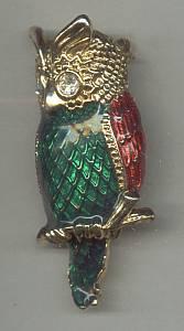Brooch/Large Enameled Owl Figural/Christmas Colors