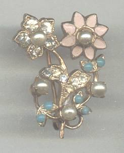 Brooch/Small Floral/Pin W/Enamel/Faux Pearls/Rhinestones/Faux Turquoise