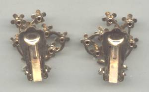 Earrings/Clip Ons/Enameled Flowers W/Rhinestone Center