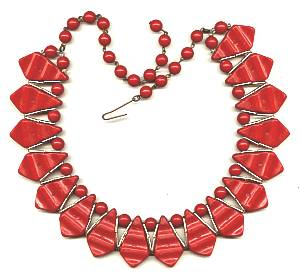 Necklace/Choker/Faceted Red Plastic W/Brass Bead Accents