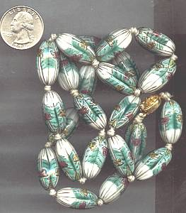 Necklace/Large Pianted Glass or Ceramic Beads W/Gold Plated Clasp