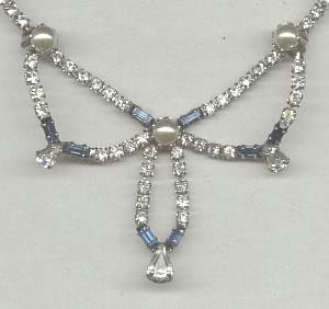 Necklace/Designer/Taylor Maid Clear Rhinestone/Faux Pearl/Saphire Rhinestone