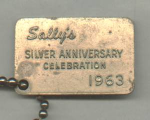 Advertising/Keychain/1963/Silver Anniversary Celebration Tag/Sally Shops of California