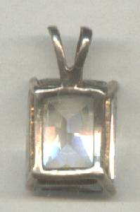 Pendent/Large Clear Emerald Cut Glass Stone