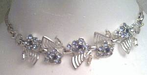 Necklace/Choker/Unmarked/Silvertone/Two Color Blue Rhinestones